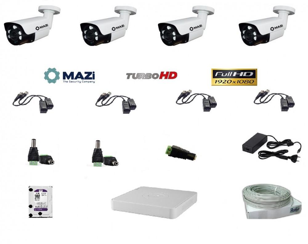 MAZi 4 kamerás szett Full HD (1920x1080) 2MP Kültéri IR cső 2,8-12mm, 5db power IR led