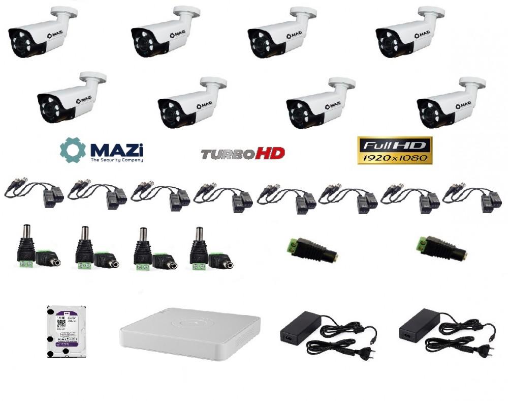 MAZi 8 kamerás szett Full HD (1920x1080) 2MP Kültéri IR cső 2,8-12mm 5db power IR led