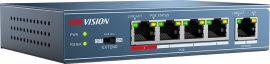 Hikvision DS-3E0105P-E 5 portos PoE switch (58 W), 4 PoE + 1 uplink port, nem menedzselhető