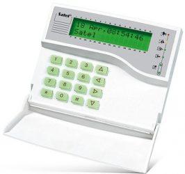 Satel INT-KLCDK-GR LCD kezelő INTEGRA központokhoz, lenyíló billentyűzetvédővel, zöld háttérfény és kijelző