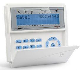 Satel INT-KLCDR-BL LCD kezelő INTEGRA központokhoz, kártyaolvasóval és lenyíló billentyűzetvédővel, kék
