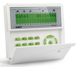 Satel INT-KLCDR-GR LCD kezelő INTEGRA központokhoz, kártyaolvasóval és lenyíló billentyűzetvédővel, zöld