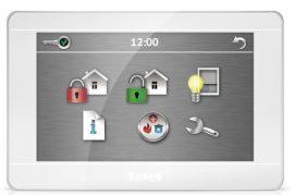 Satel INT-TSH-WSW 7 érintőképernyős kezelő, fehér előlap, ezüst keret, fehér hátlap